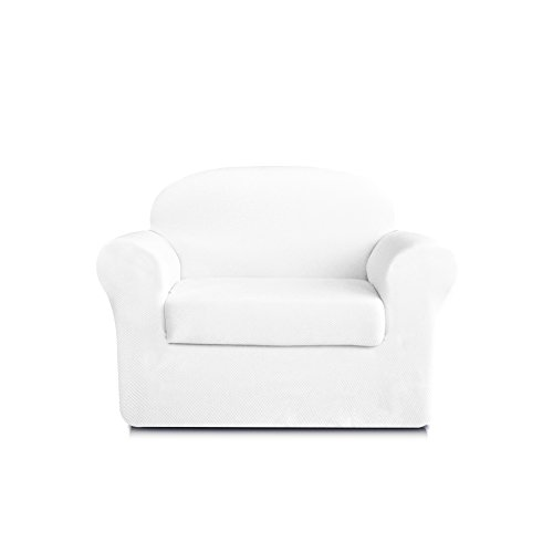 - DyFun 2-Piece Knit Spandex Stretch Dining Room Sofa Slipcovers (Chair, White)