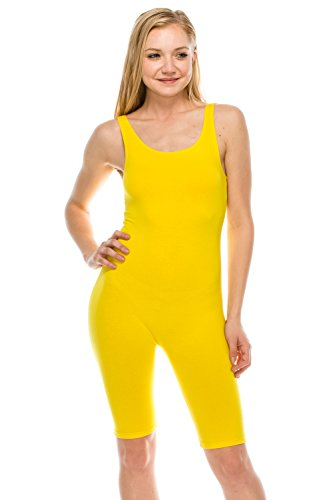 The Classic Womens Catsuit Cotton Stretch Knee Length Active One Piece Footed Jumpsuti (Small, Yellow) ()