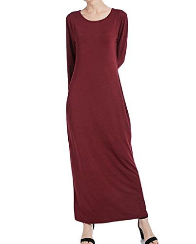 Dress Neck Colored Stretchable Simple Muslim Maxi Comfy Red Women's Wine Crew Solid wz7446