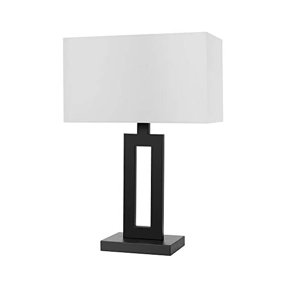 "Globe Electric 67045 D'Alessio Table Lamp, 20"", Matte Black - MODERN DESIGN: a trendy cutout body and rectangular linen shade offers a modern design that will stand the test of time WHITE LINEN SHADE: offering a bright but diffused light, a white linen shade brings a classic element to any space while allowing you to give your lamp and room a warmer or colder look depending on the bulb color temperature you choose PERFECT HEIGHT: a 20-inch height is perfect for a side table, bedside table or entryway table - lamps, bedroom-decor, bedroom - 31vtfYaIE5L. SS570  -"