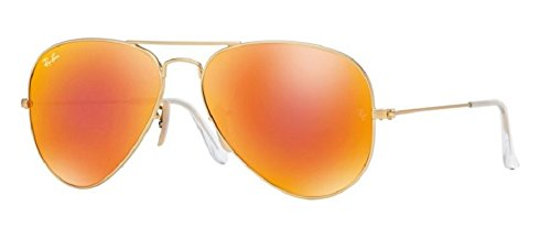 Ray-Ban RB3025 Aviator Sunglasses Matte Gold/Orange Mirror (112/69) RB 3025 - Online Sale Ray Ban