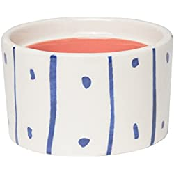"C.R. Gibson ""H Monogram Blue Polka Dot and Striped and Pink Interior Small Ceramic Trinket and Jewelry Box, 2.5"" W x 2"" H x 2.5"" D"