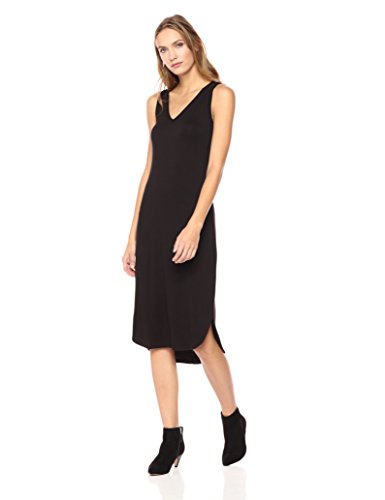 Scarf Rayon Jersey - Daily Ritual Women's Jersey Sleeveless V-Neck Dress, M, Black