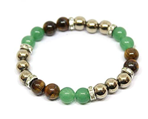 Pooja Gems 8mm Green Aventurine + Golden Pyrite and Yellow Tiger Eye Natural Agate Stone Bracelet