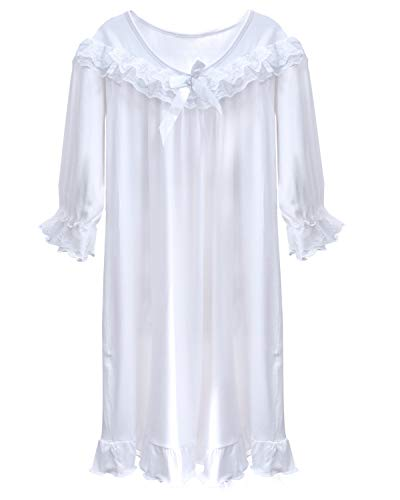 BOOPH Girls Nightgown, Toddler Sleep Dress Lace Princess Nightwear White 10-12Y