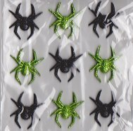 Recollections 3d Resin Halloween Spiders Green/Black Stickers -