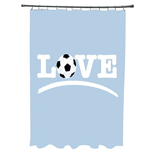 E by Design Love Soccer Word Print Shower Curtain Yellow by E by design