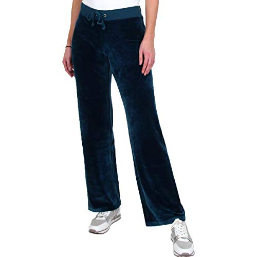 Juicy Couture Black Label Mar Vista Womens Luxe Velour Pants Blue Size L
