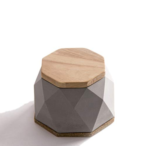 Portable Ashtrays Concrete Cement Ashtray Wooden Cover Personality Geometric Creative Industrial Wind Home Office 126.5cm Home Table Ash Trays (Color : Gray)