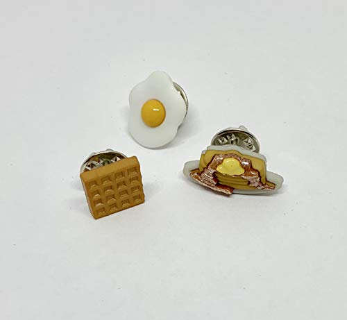 Breakfast Foods Waffle Egg Pancake Stack Dollhouse Miniature Pinback Brooch Set - Foodie Jewelry - Tiny Food - Food Earring - Gift for Her