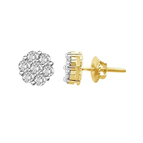 (14K Yellow Gold Round Natural Diamond Flower Cluster Unisex Stud Earrings (H-I Color, I3 Clarity) (yellow-gold, 0.30))