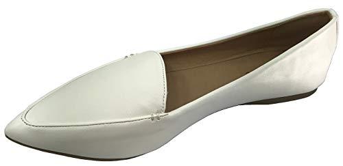 Harper Shoes Womens Loafer Flat Closed Toe Slip On, White, 7.5