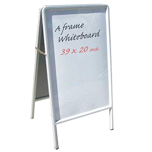 Double Side A Frame Sidewalk White Markerboard Sign (Arts & Craft, Business Sign, Street Sign, Print Shop, Sign Shop) Writing Area: 18.25