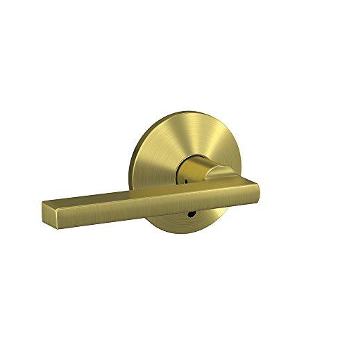 Schlage Custom FC21 LAT 608 KIN Latitude Lever with Kinsler Trim Hall-Closet and Bed-Bath Lock, Satin Brass (Locking Lever Trim)