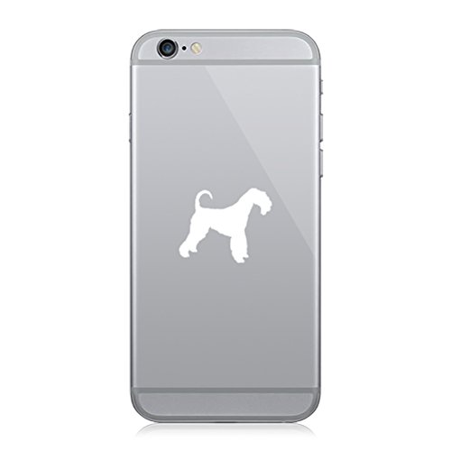 RDW Pair of Airedale Cell Phone Stickers Mobile Dog Canine pet - White