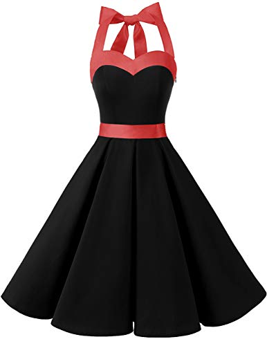 Rockabilly Polka Cocktail Dots Audrey Dress Halter Dresstells® Black Retro 50s EZqwtwv