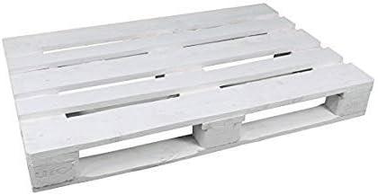 Dydaya 2 x Pallets de Madera de 80x120 Lijados y Pintados de Blanco para Mobiliario & Decoraciónes (Blanco, 2)
