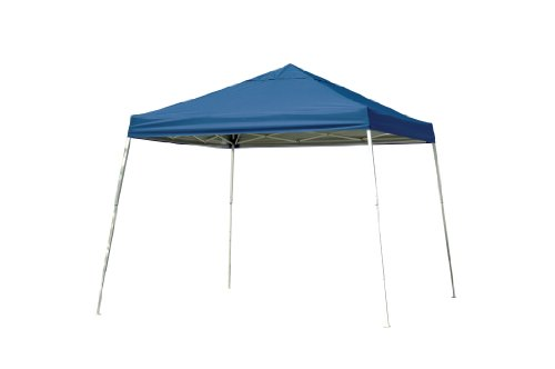 12x12 Slant Leg Pop-up Canopy, Blue Cover, Black Roller Bag by ShelterLogic