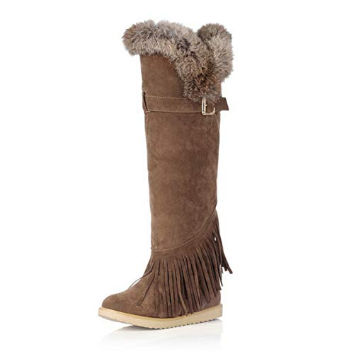 (TANGOGO Women's Scrub Fur Snow Boots Wedges Over The Knee Thigh High Boots Winter Thermal Female Fringed Shoes)