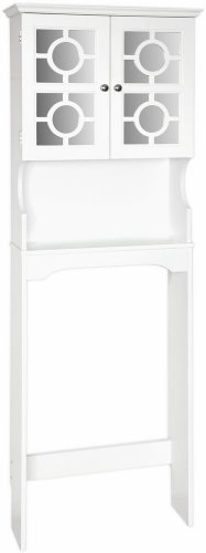 Home Source Industries Henry Bathroom Space Saver with Decorative Two-Door Mirrored Cabinet, White by Home Source Industries