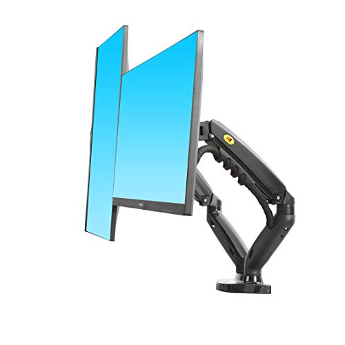 NB North Bayou Dual Monitor Desk Mount Stand Full Motion Swivel Computer Monitor Arm for Two Screens 17-27 Inch with 14.3lbs Loading for Each Display F160