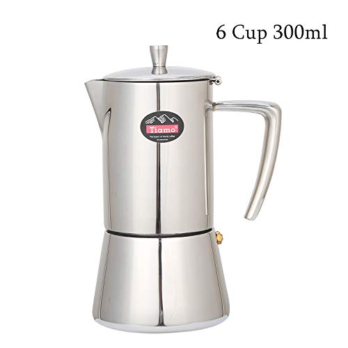 (Stovetop Percolator,Italian Espresso Coffee Maker,Moka Pot,Stainless Steel Espresso Machine,For Full Bodied Coffee,Espresso Pot,Moka Pot With Silver Chrome Finish (6 Cup 300ML) )