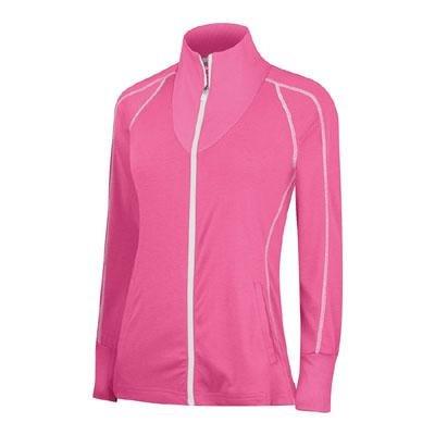 adidas Golf Womens Climalite TWT Lightweight Full Zip Jacket (Large, Bubblegum Pink/White)