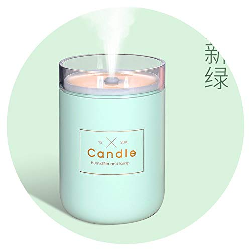 (I'll be waiting for you here 280ML Air Humidifier LED Candle Ultrasonic Cool Mist Essential Oil Diffuser USB Aroma Lamp Car Purifier Fogger Mist Maker,Green)