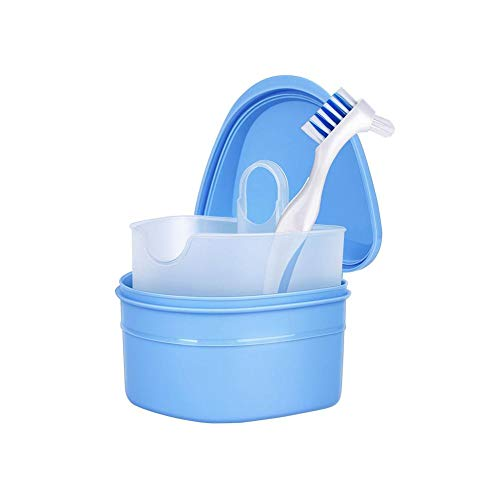 TOMOYOU Denture Box Denture Cup Denture Case Denture Brush Denture Retainer Container with Cleaning Brush Cleaning Storage Tooth Socket Corrector Cleaning Oral Care for Safe Guard Dentures