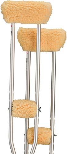 NOVA Crutch Sheepskin Underarm & Hand Grip Cover Set, Cushion Pad Fleece Accessories for Underarm Crutches, One Pair Each of Underarm & Hand Grip Covers, Universal Fit