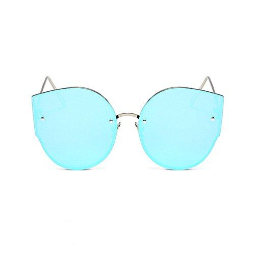Bicchieri vertigini Da Uv400 Occhiali Hzjundasi Gatto Donna Anti Annata Sole Occhio Telaio Guida Blu Di Argento Metallo Moda rxBCoWde