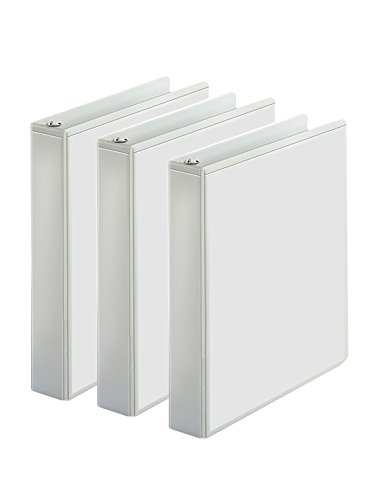 3-Ring Binder, Presentation View Binders - 2 Interior Pockets - Easily Organize Projects, presentations, and More - Clear Front for Easy Customization - Holds 350 Sheets - 3-Pack (1.5-inch, White) -
