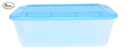 """Clear Plastic 5 Quart Stackable Storage Container Box With Lid 6 PACK, Rectangular Shoe Box Size 8"""" x 13.25"""" x 4.25"""" - Ideal for Shoes, Kitchen, Closets, Garages, and More"""