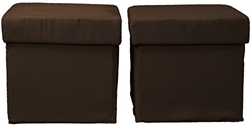 Epic Furnishings Vanderbilt Foldable with Tray Top Storage Ottoman/Table and Bench Set (two ottomans), Microfiber Suede Chocolate Brown