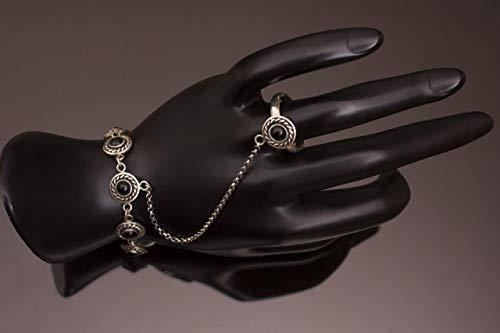 Sterling silver slave bracelet,bracelet with ring,unique slave bracelet,statement slave bracelet,boho style bracelet,hand chain ()