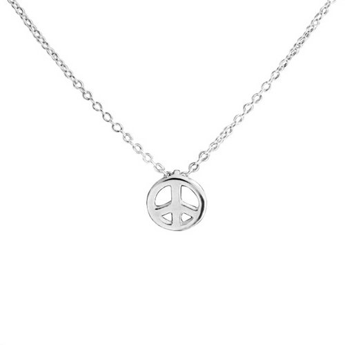 (Tiny Minimalist Symbol World Peace Sign Pendant Necklace For Teen For Women 925 Sterling Silver With Chain)