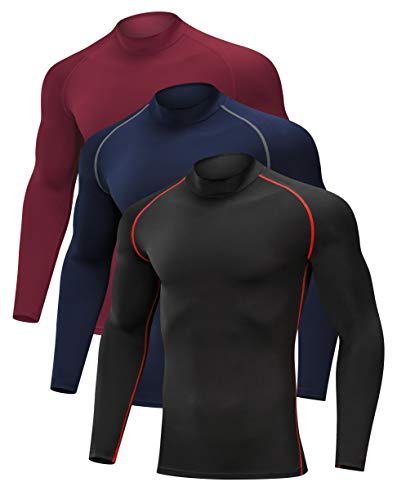 SILKWORLD Men's 3 Pack Compression Shirt Dry Fit Running Long-Sleeved Sports Baselayer, Black(Red Stripe), Red, Navy Blue, Large