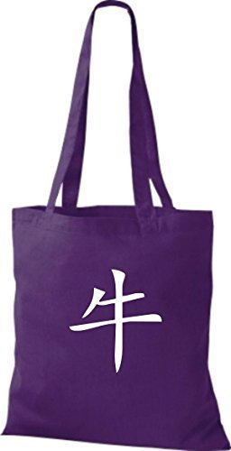 Shirtinstyle - Bolso de tela de algodón para mujer púrpura - morado