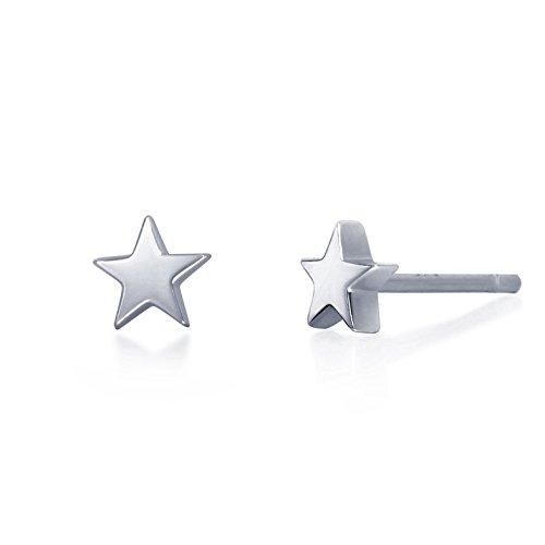 - S.Leaf Tiny Star Earrings Sterling Silver Star Stud Earrings for Women (white gold)