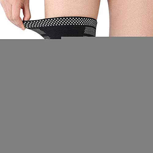 Knee Brace Support, Breathable Knee Sleeve Protector Wrap Pad Fitness Basketball Outdoor Strap(L-Black&Gray)