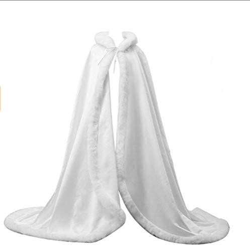 PearlBridal Women's Wedding Bridal Luxury Hooded Cape Long Cloak Christmas Party Wrap Stole Faux Fur Edge White -