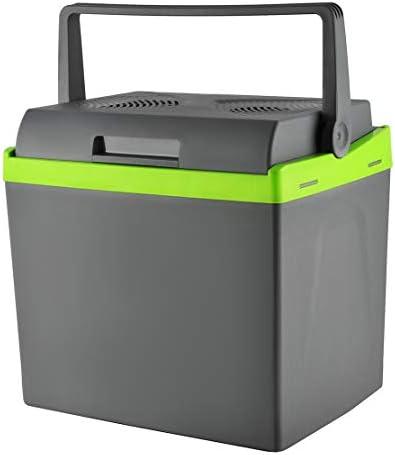 MALATEC Kühlbox Grau 25l 12V/220V Kühlen + Heizen Bequemer Griff Gewicht 4kg Lange Kabel 7845, Größe:30L