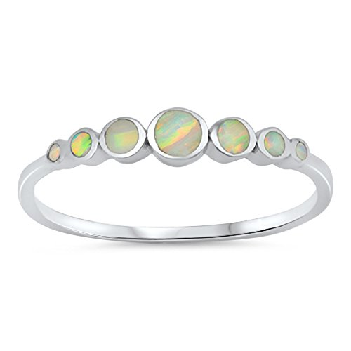 Round Circle White Simulated Opal Journey Ring New 925 Sterling Silver Band Size 5