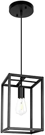 Pendant Light, Industrial Retro Loft Design, Black Rectangle Cage Hanging Ceiling Lamp, Retro Lighting Fixture for Kitchen Island Dining Room Hardware