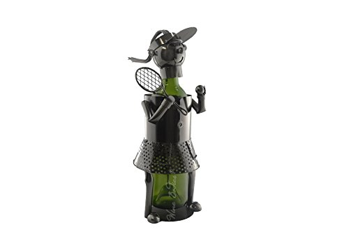 WINE BODIES ZB1280 Woman Tennis Player Metal Wine Bottle Holder, Charcoal -