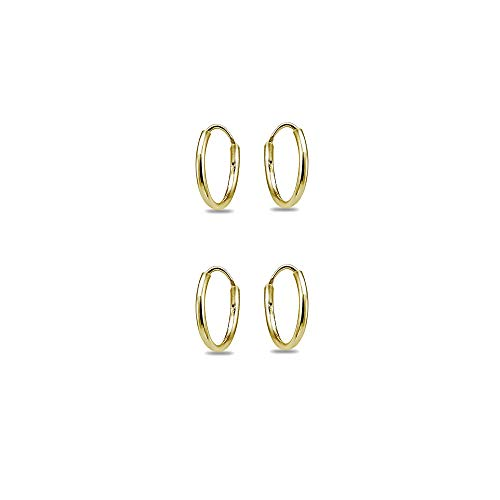 14K Yellow Gold Filled Small Tiny Endless 10mm Lightweight Thin Round Unisex Hoop Earrings, Set of 2 Pairs