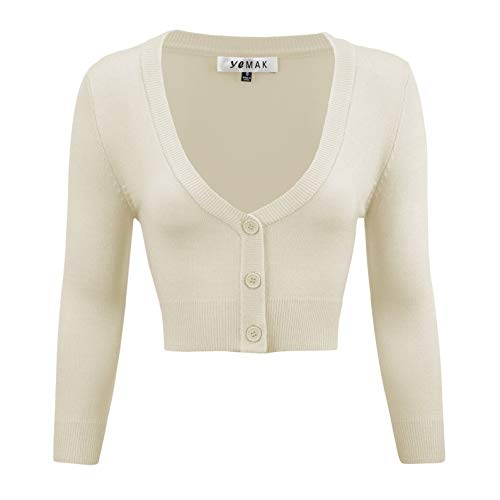- YEMAK Women's Cropped 3/4 Sleeve Bolero Button Down Cardigan Sweater CO129-OAT-S Oatmeal