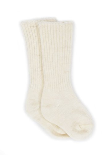 Warrior Alpaca Socks - Dye-Free Infant & Toddler Tube Socks - Unisex - Baby Alpaca Wool SoxNEW (00/6-12mo, Natural White)
