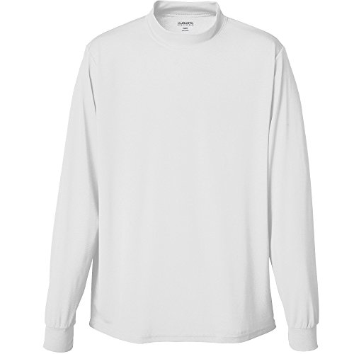 Sleeve Performance Mock Turtleneck - Augusta Sportswear Mens Wicking Mock Turtleneck, White, Large