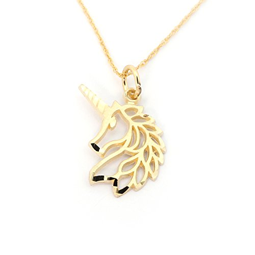 Beauniq 14k Yellow Gold Unicorn Pendant Necklace - 22